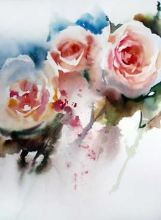 Fleurs, by Jean Claude Papeix Flower Painting, Art Painting, Leaf Art, Watercolor Rose, Watercolor Artists, Floral Art, Painting, Watercolor Flowers, Whimsical Art