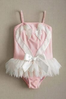 Girls Swan Skirted Swimsuit