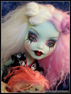 Monster High Doll Frankie Stein Repaint with Mohair Reroot and OOAK Custom Outfit by Fantasy Dolls by Donna Anne Find me on Facebook: https://www.facebook.com/pages/Fantasy-Dolls-by-DonnaAnne/837776306265877