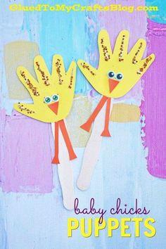 Handprint Baby Chicks Puppets - Kid Craft Idea