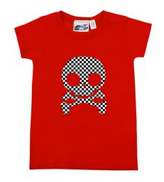 Checker Skull Red T-shirt - Rock & punk baby & toddler clothes and gifts at My Baby Rocks