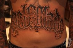 Amazing Self Made Lettering Tattoo On Stomach