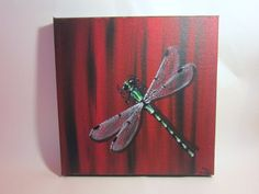 Canvas Painting Damselfly by SixAndEight on Etsy, $27.00