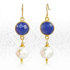 Regenz Afghan Lapis Lazuli and Pearl Retro Style Earrings Brand New Lapis Lazuli, Stone Jewelry, Retro Fashion, Brand New, Drop Earrings, Jewels, Sterling Silver, Retro Style, Gold