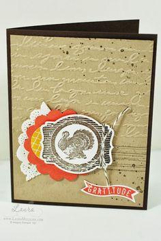 Stampin' Up! stamp set Harvest of Thanks, pretty prints embossing folder