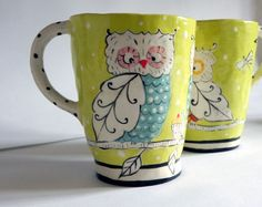 Spring Green Owl Mug by joyelizabethceramics on Etsy, $29.00