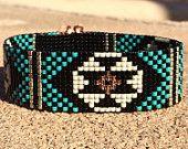 Turquoise Black Bead Loom Bracelet Bohemian Boho Artisanal Jewelry Indian Western Bead Santa Fe Native American Style Southwestern Rodeo