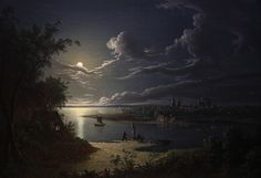 Moonlight Scene by Sebastian Pether Victoria Art Gallery Date painted: 1819 Gothic Landscape, Landscape Art, Landscape Paintings, Nocturne, Victoria Art, Moonlight Painting, Beautiful Moon, Art Uk, Historical Art