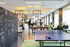 Giant chalkboard and ping pong table! Australian Interior Design, Interior Design Awards, Workspace Design, Office Workspace, Corporate Interiors, Office Interiors, Bureau Open Space, Student Lounge, Student Office