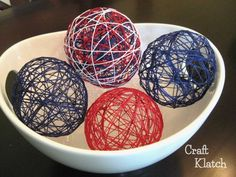 Learn how to make decorative string balls. They are perfect for any patriotic holidays, such as Memorial Day or the Fourth of July. Patriotic Crafts, July Crafts, Americana Crafts, Patriotic Party, Brick Garden Edging, Bee Creative, July Holidays, Macrame Projects, Baskets On Wall