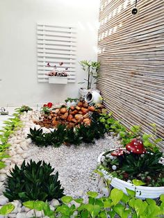 Jardim de inverno pequeno com pedras.  Fotografia: http://www.decorfacil.com
