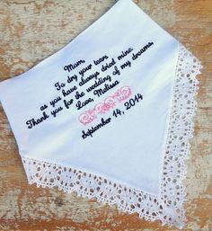 Linen wedding handkerchief for mom's tears!
