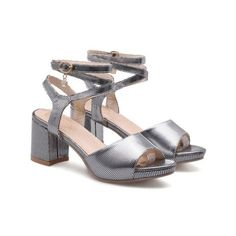 Gun Metal Rhinestone Cross Strap Block Heel Sandals (280 DKK) ❤ liked on Polyvore featuring shoes, sandals, gunmetal shoes, gun metal shoes, block heel sandals and block heel shoes