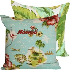 ($36.00) Aloha from Hawaii Collection - Tommy Bahama Designer Decorative Outdoor Throw Pillow Cover - Hibiscus Flowers, Palm Trees, Pineapple, and Ocean - Green, Yellow, Aqua, Red and Ivory Hues - 1 Pillow Cover From Chloe