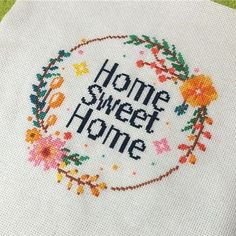Check out this beautiful customer photo of Leia Patterns home sweet home cross stitch pattern. Modern Cross Stitch Patterns, Cross Stitch Designs, Cross Stitch Art, Cross Stitching, Embroidery Hoops, Needle And Thread, Crafts To Do, Needlepoint, Needlework