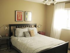 Fun colors in a small bedroom.