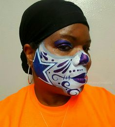 Go Cowboys - Dallas Cowboys Sugar Skull Face Paint designed and painted by Dallas Face Painter FunnyCheeksTJ of Funny Cheeks Dallas Face Painting  #GoDallasCowboys #cowboysnation #Cowboys #HowBoutThemCowboys  #WeDemBoys #Wedemboyz