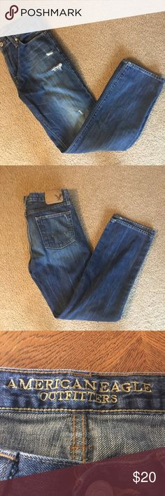 American Eagle jeans. Original straight distressed jeans. These don't have that much stretch.        Measurements are approx. American Eagle Outfitters Jeans Straight Leg
