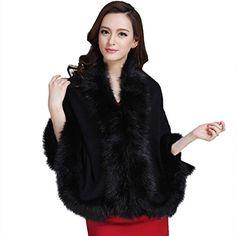 Zeagoo Luxury Shawl Cloak Cardigan Sweater Wrap Cape Faux Fur Coat Jacket