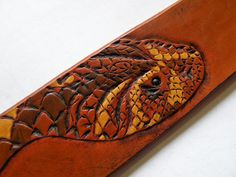 snake belt tooled Leather Belt by vbaschung on Etsy, €240.00