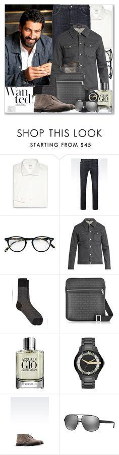 """Man of Style: Kenan İmirzalıoğlu"" by coraline-marie ❤ liked on Polyvore featuring Armani Collezioni, Armani Jeans, Garrett Leight, A.P.C., Barneys New York, Armani Beauty, Armani Exchange, men's fashion and menswear"