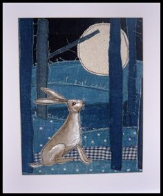 loopy linnet - beautiful stitched hare gazing at the moon