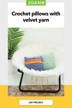 Stay comfy and cozy with a custom crocheted pillow! With Lion Brand Vel-Luxe Jumbo yarn, you'll never want to stop cuddling with your creation. Jumbo Yarn, Crochet Pillow, Lion Brand, Get Directions, Joanns Fabric And Crafts, Craft Stores, Cuddling, Crochet Projects, Velvet