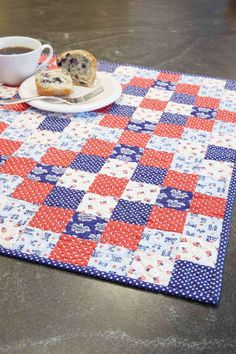 You can never have too many table quilt patterns! They're quick to make and useful, too. Show your patriotism with these really cute reproduction Americana prints in Americana, by Deb Finan. Make this table topper just in time for Memorial Day, 4th of July, or decorate your home with pride year-round!