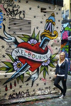 Tattoo like street art in Melbourne, Australia (unknown artist)