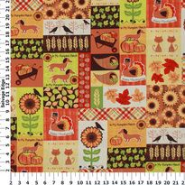 M'Liss Dachshunds & Kitties in a Patch Cotton Fabric