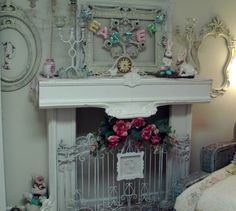 easter decor in the spare bedroom, bedroom ideas, easter decorations, home decor, seasonal holiday decor Faux Fireplace, Fireplace Mantels, Fireplace Makeovers, Fireplace Screens, Fireplace Ideas, Oster Dekor, Decorating Your Home, Diy Home Decor, Holiday Decorating