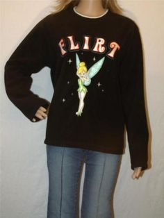 Womens Disney Tinkerbell Medium Fleece Flirt Sweatshirt Pullover Stretch Warm