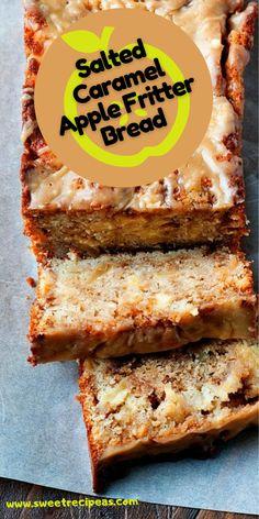 Salted Caramel Apple Fritter Bread Easy Gluten Free Desserts, Easy Desserts, Delicious Desserts, Dessert Recipes, Baking Desserts, Apple Fritter Bread, Apple Fritters, Apple Bread, Tart Recipes