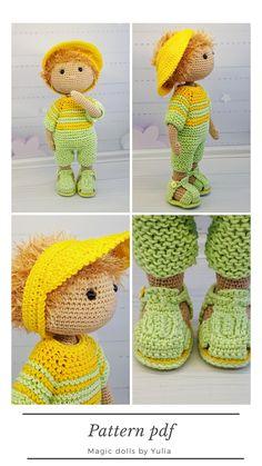 crochet boy doll pattern, how to crochet doll, diy handmade doll, pattern pdf - HELA'S - Amigurumi - Handmade Dolls Patterns, Crochet Dolls Free Patterns, Crochet Doll Pattern, Doll Patterns, Crochet Toys, Crochet For Boys, Boy Crochet, Crafts For Boys, Boy Doll