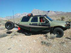 1990 toyota 4runner, 3.4 swap Fj rear coils, bilstein shocks, goodyear wrangler kevlar sidewall reinforced at radials. Overland style camping in las vegas Nevada, hammock vehicle camping