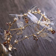 2016 Baroque crown Three layer Dragonfly bridal hair accessories the new wedding crown beauty crowns and tiaras