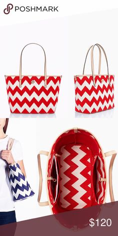 """Kate Spade Chevron Tote Steeped in culture, mexico city is home to museums, enchanting spanish colonial architecture & a bevy of theaters. Balanced with history & modernity, inspired this linen & jute handbag, adorned with a colorful, high-contrast chevron print & smooth leather trim. 9.9"""" x 12.0"""" x 6.2"""", 9"""" drop. Lightly coated linen & jute blend with soft cowhide trim. In good condition with some wear. Bonded canvas lining, over the shoulder bag with dog clip closure & interior zip and…"""