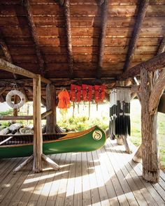 Sagamore's 1897 boathouse is outfitted for paddling on the 12-square-mile Sagamore Lake. Because of its isolation, the Sagamore was built as a self-sufficient compound and included, among other things, on-site blacksmiths and a root cellar for storing vegetables.