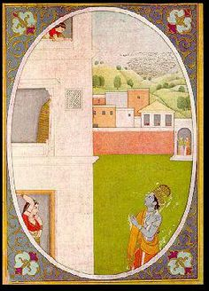 Plate 2 - Restlessness of Love	 	 The sakhis are watching the restless Radha from a porch in the courtyard. Radha stares at Krishna from the entrance door of her house.  She is shown gazing at him from the second floor. In the background, are green hillocks, dotted with mangoes and box-like houses reminiscent of Alampur.