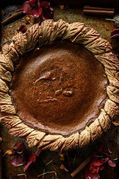 Spiced pumpkin pie (vegan and gluten-free) - heather christo Gluten Free Pumpkin Pie, Gluten Free Thanksgiving, Pumpkin Pie Recipes, Fall Recipes, Holiday Recipes, Holiday Foods, Thanksgiving Table, Thanksgiving Recipes, Paleo