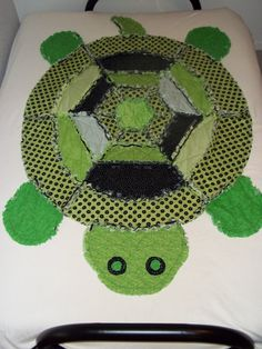 Tommy Turtle Rag Quilt. $95.00, via Etsy.