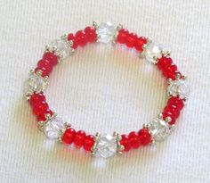 Valentine's day red and clear crystal bead stretch bracelet  #Beaded