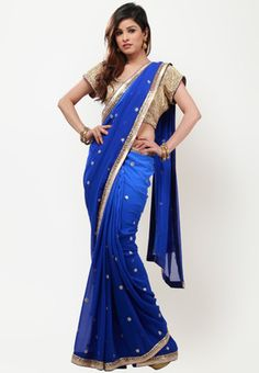 BARCODE 91 Embellished Blue Saree - blue coloured saree for women by Barcode 91. Made from georgette, this embellished saree measures 6.3 metres, including a blouse piece. It comes with an additional stitched blouse measuring 39.5 inches (large).
