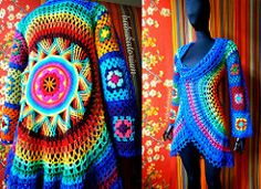 Hippie. Boho. Colorful. Crochet. Cardigan.  Aztec sun mandala back with flower center from Ellen Gormley's Go Crochet! Afghan Design Workbook.  Rainbows. Rainbows. Rainbows from 15 colors.  Multico...
