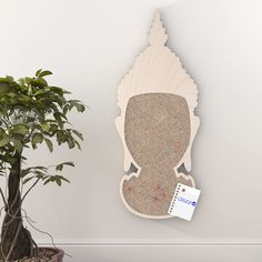 Buddha Noticeboard. Made from baltic birch plywood and natural cork, cnc cutted. Designed and made in Québec, by dezz.xyz
