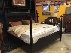 Tall black king or cal king size headboard, footboard and rails. $695  #home #house #apartment #bed #king #California #bedroom #design #decor #furniture #forsale mk #consignment #black
