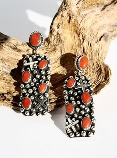Sterling Silver and Coral Earrings - western, cowgirl, chic, coral, crosses, sterling beads http://www.cowgirlkim.com/simply-stunning-sterling-silver-and-coral-earrings.html