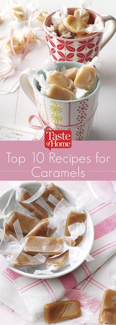 Top 10 Recipes for Caramels (from Taste of Home) (cupcake filling recipes salted caramels) Homemade Christmas Cookie Recipes, Homemade Candies, Christmas Baking, Christmas Crack, Christmas Candy, Christmas Cookies, Christmas Ideas, Caramel Recipes, Candy Recipes