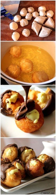 Boston Cream Doughnut Holes I've soo got to try this! ingredients :1 Container of Pillsbury grands Flaky layers biscuits 1 Box JELLO instant Vanilla Pudding (OR you can make your own Pastry Cream) Chocolate Almond Bark..(1/2 Cup when melted) Oil for frying