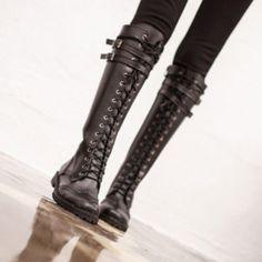 [플라잉캐치비] 레이스업 롱 부츠 / {합성피혁,내피융,굽높이 2.5cm} Dark Fashion, Fashion Boots, Ripped Tights, High Wasted Shorts, Neck Choker, Frankenstein, Shoe Boots, Shoes, Over The Knee Boots